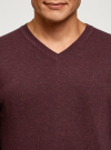 Пуловер базовый с V-образным вырезом oodji для мужчины (красный), 4B212007M-1/34390N/4900M - вид 4