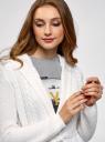 Кардиган с капюшоном и поясом oodji для женщины (белый), 73207185/33491/1000N