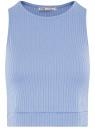 Топ укороченный в рубчик oodji для женщины (синий), 15F15001/46412/7002N