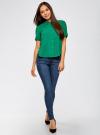 Блузка вискозная с короткими рукавами oodji #SECTION_NAME# (зеленый), 11411137B/14897/6E02N - вид 6