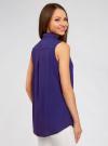 Топ вискозный с нагрудным карманом oodji для женщины (синий), 11411108B/26346/7500N - вид 3