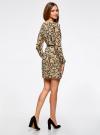 Платье из шифона с ремнем oodji для женщины (бежевый), 11900150-5/13632/3329A - вид 3