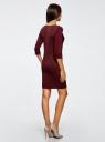 Платье трикотажное из фактурной ткани oodji #SECTION_NAME# (красный), 24001100-6/45351/4901N - вид 3