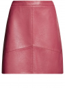 Юбка-трапеция из искусственной кожи oodji #SECTION_NAME# (розовый), 18H00008/46534/4A00N
