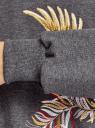Худи хлопковая с вышивкой oodji #SECTION_NAME# (серый), 15408012-3/48820N/2533Z - вид 5