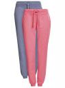 Брюки трикотажные (комплект из 2 пар) oodji для женщины (розовый), 16700030-5T2/46173/4A74M