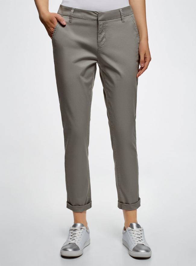 Брюки-чиносы хлопковые oodji для женщины (серый), 11706204/46777/2300N