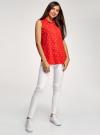 Топ вискозный с нагрудным карманом oodji для женщины (красный), 11411108B/26346/4510Q - вид 6
