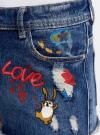 Шорты джинсовые с рисунком и потертостями oodji #SECTION_NAME# (синий), 12807072/45254/7919K - вид 4