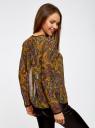 Блузка из струящейся ткани с контрастной отделкой oodji #SECTION_NAME# (желтый), 11411059-2/38375/5729E - вид 3