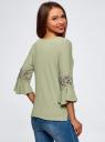 Блузка трикотажная с кружевными вставками на рукавах oodji #SECTION_NAME# (зеленый), 11308096/43222/6000N - вид 3