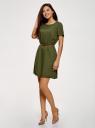 Платье вискозное с ремнем oodji #SECTION_NAME# (зеленый), 11901154-2/47741/6800N - вид 6
