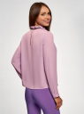 Блузка с декоративными завязками и оборками на воротнике oodji #SECTION_NAME# (фиолетовый), 11411091-2/36215/8000N - вид 3