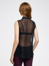 Топ из струящейся ткани с рубашечным воротником oodji для женщины (черный), 14903001B/42816/2900N - вид 3