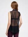 Топ из струящейся ткани с рубашечным воротником oodji для женщины (черный), 14903001B/42816/2900N