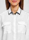 Блузка свободного силуэта из струящейся ткани oodji #SECTION_NAME# (белый), 11401282/49474/1229B - вид 4