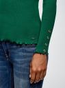 Водолазка в рубчик с пуговицами на рукавах oodji #SECTION_NAME# (зеленый), 15E11009-1/48037/6E00N - вид 5