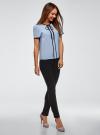 Блузка с коротким рукавом и контрастной отделкой oodji для женщины (синий), 11401254/42405/7029B - вид 6