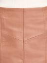 Юбка мини из искусственной кожи oodji для женщины (бежевый), 18H01021/49353/3500N