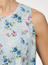 Топ двуслойный из струящейся ткани oodji #SECTION_NAME# (синий), 14911019/46796/7075F - вид 5