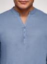 Рубашка прямого силуэта изо льна oodji для мужчины (синий), 3B320002M-1/49987N/7002N