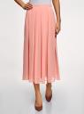 Юбка в складку из струящейся ткани oodji для женщины (розовый), 23G00009-2B/45193/4B00N