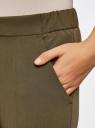 Брюки зауженные на эластичном поясе oodji для женщины (зеленый), 11703091/18600/6200N