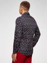 Рубашка приталенная с новогодним принтом oodji #SECTION_NAME# (синий), 3L110347M/19370N/7919G - вид 3