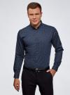 Рубашка хлопковая в мелкую графику oodji для мужчины (синий), 3L110335M/19370N/7975G - вид 2