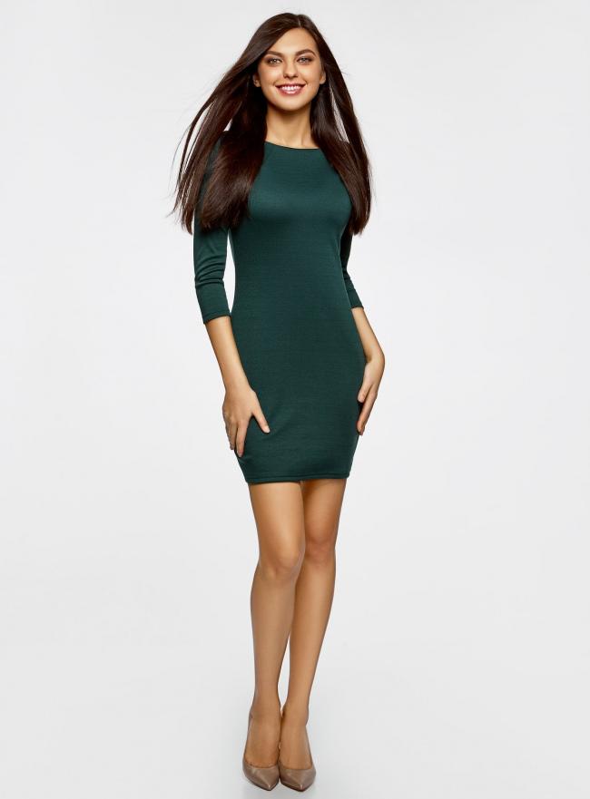 Платье с металлическим декором на плечах oodji для женщины (зеленый), 14001105-3/18610/6E00N