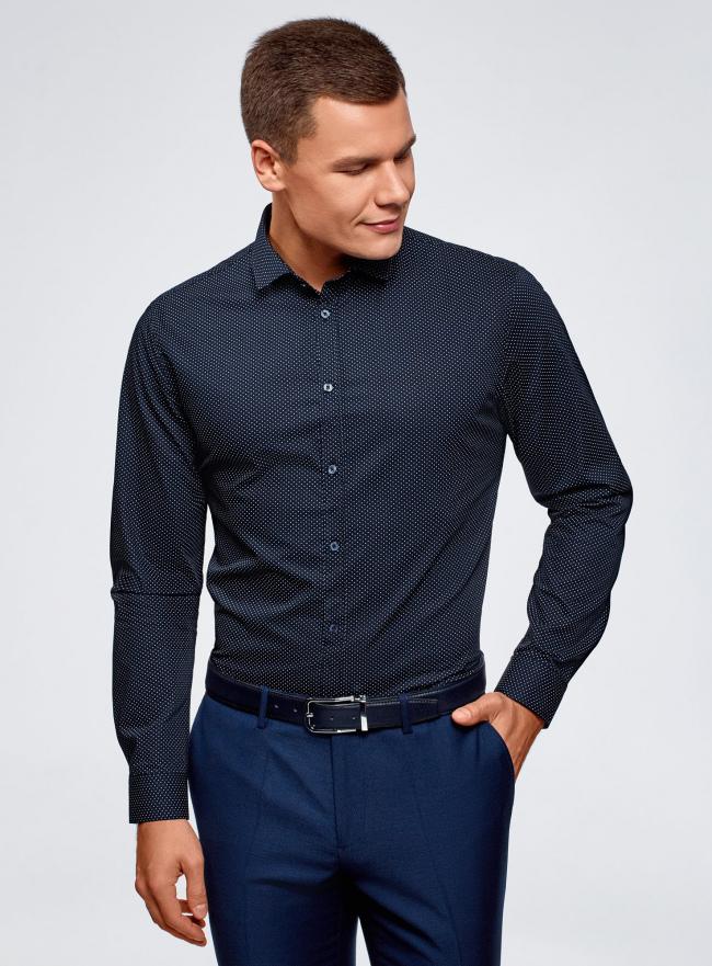 Рубашка приталенная в горошек oodji #SECTION_NAME# (синий), 3B110016M/19370N/7912D