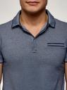 Поло принтованное из ткани пике oodji для мужчины (синий), 5L412343M/50510N/7500O