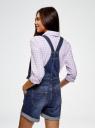 Комбинезон с шортами джинсовый oodji #SECTION_NAME# (синий), 13109060/45379/7500W - вид 3