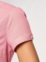 Рубашка хлопковая с коротким рукавом oodji #SECTION_NAME# (розовый), 13K01004B/33081/4110S - вид 5