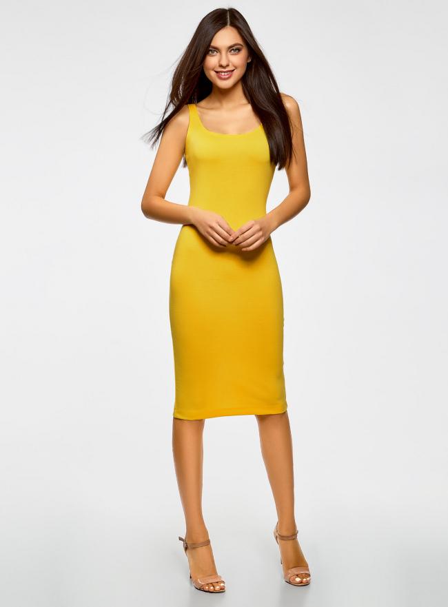 Платье-майка трикотажное oodji для женщины (желтый), 14015007-8B/46944/5100N