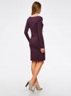 Платье трикотажное облегающего силуэта oodji для женщины (фиолетовый), 14001183B/46148/8801N - вид 3