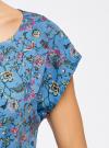 Блузка принтованная из вискозы oodji #SECTION_NAME# (синий), 11400345-2/24681/7041F - вид 5