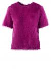 Блузка ворсистая с вырезом-капелькой на спине oodji #SECTION_NAME# (розовый), 14701049/46105/4700N