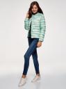 Куртка стеганая с круглым вырезом oodji для женщины (зеленый), 10204040-1B/42257/6560O