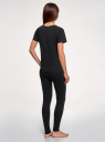 """Пижама с брюками и принтом """"кошка"""" oodji для женщины (черный), 56002198-1/46154/2910P"""
