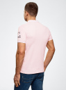 Поло из ткани пике с принтом oodji #SECTION_NAME# (розовый), 5L412283M/39276N/4110B - вид 3