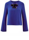 Блузка с бантом и рукавом-колоколом oodji #SECTION_NAME# (синий), 11401256/45994/7500N