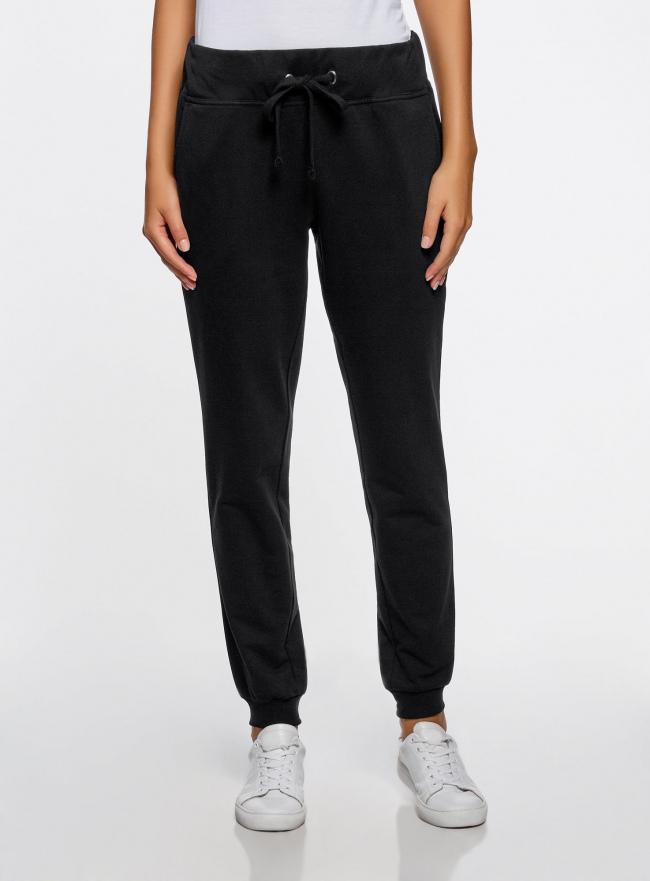 Комплект трикотажных брюк (2 пары) oodji #SECTION_NAME# (черный), 16700030-15T2/47906/2900N