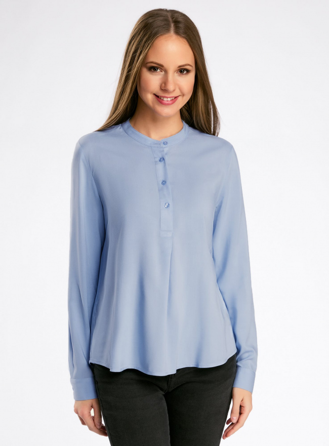Блузка вискозная А-образного силуэта oodji для женщины (синий), 21411113B/26346/7000N