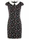 Платье принтованное с контрастным воротником oodji для женщины (черный), 11910077-3/37888/2945F