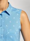 Топ вискозный с нагрудным карманом oodji для женщины (синий), 11411108B/26346/7510Q - вид 5