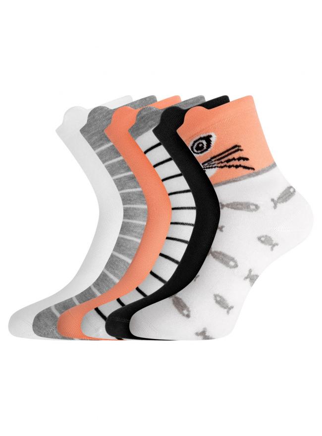 Комплект хлопковых носков (6 пар) oodji для женщины (разноцветный), 57102802T6/47469/18