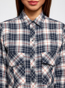 Рубашка свободного силуэта с надписью на спине oodji #SECTION_NAME# (синий), 11411139/46398/3079C - вид 4