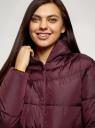 Пальто утепленное с капюшоном oodji для женщины (красный), 10207009/45928/4900N