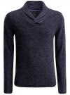 Пуловер фактурной вязки с отложным воротником oodji #SECTION_NAME# (синий), 4L210006M/25700N/7900M